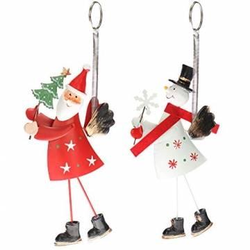 com-four® 2-teilges Hängedeko Set aus Metall - Weihnachtsmannfigur und Schneemannfigur zum Aufhängen - weihnachtliche Dekoration - Weihnachtsdeko - 1