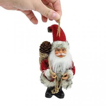 com-four® 2X Weihnachtsmannfigur zum Aufhängen aus Kunststoff, mit Jutesack, Filzmantel und Glöckchen an der Mütze - 2