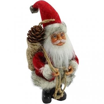 com-four® 2X Weihnachtsmannfigur zum Aufhängen aus Kunststoff, mit Jutesack, Filzmantel und Glöckchen an der Mütze - 3