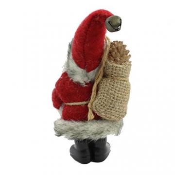 com-four® 2X Weihnachtsmannfigur zum Aufhängen aus Kunststoff, mit Jutesack, Filzmantel und Glöckchen an der Mütze - 4