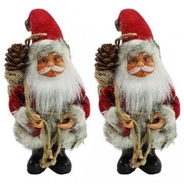 com-four® 2X Weihnachtsmannfigur zum Aufhängen aus Kunststoff, mit Jutesack, Filzmantel und Glöckchen an der Mütze - 1
