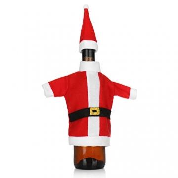 com-four® 3X Weinflaschen-Abdeckung mit Weihnachtsmannmantel und Weihnachtsmütze - Weihnachtstischdekoration - Christmas Flaschenüberzug - 2