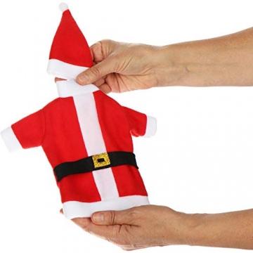 com-four® 3X Weinflaschen-Abdeckung mit Weihnachtsmannmantel und Weihnachtsmütze - Weihnachtstischdekoration - Christmas Flaschenüberzug - 3