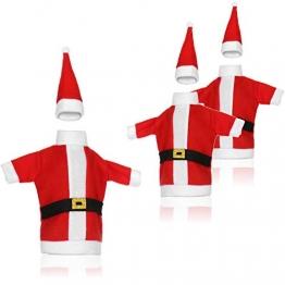com-four® 3X Weinflaschen-Abdeckung mit Weihnachtsmannmantel und Weihnachtsmütze - Weihnachtstischdekoration - Christmas Flaschenüberzug - 1