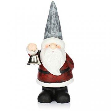 com-four® Weihnachtsmannfigur aus Keramik - dekorativer Santa zum Hinstellen mit Glocke - Dekofigur zu Weihnachten - 24 cm (Weihnachtsmann mit Glocke) - 1