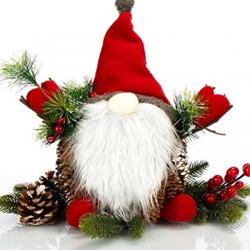 com-four® Weihnachtsmannfigur Größe XL, winterliche Santa Claus-Figur mit Tannenzapfenkörper, weihnachtliche Dekoration, hinreißende Tischdeko zur Adventszeit (Santa XL rot grün) - 3