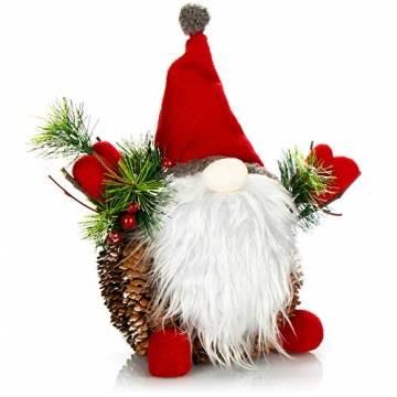 com-four® Weihnachtsmannfigur Größe XL, winterliche Santa Claus-Figur mit Tannenzapfenkörper, weihnachtliche Dekoration, hinreißende Tischdeko zur Adventszeit (Santa XL rot grün) - 1