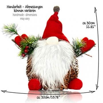 com-four® Weihnachtsmannfigur Größe XL, winterliche Santa Claus-Figur mit Tannenzapfenkörper, weihnachtliche Dekoration, hinreißende Tischdeko zur Adventszeit (Santa XL rot grün) - 5