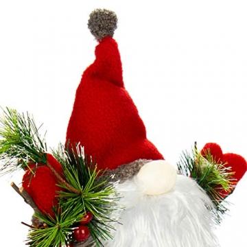 com-four® Weihnachtsmannfigur Größe XL, winterliche Santa Claus-Figur mit Tannenzapfenkörper, weihnachtliche Dekoration, hinreißende Tischdeko zur Adventszeit (Santa XL rot grün) - 7
