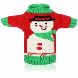com-four® Weinflaschen-Abdeckung - Weihnachtspullover mit Schneemannmotiv - Weihnachtstischdekoration - Christmas Flaschenüberzug (01 Stück - Schneeman) - 1