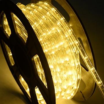 COSTWAY 10M LED Lichterschlauch Lichterkette Außen und Innen mit 360 LEDs Weihnachtsbeleuchtung Lichtschlauch Weihnachten Deko (Warmweiß) - 2