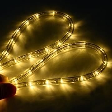 COSTWAY 10M LED Lichterschlauch Lichterkette Außen und Innen mit 360 LEDs Weihnachtsbeleuchtung Lichtschlauch Weihnachten Deko (Warmweiß) - 4