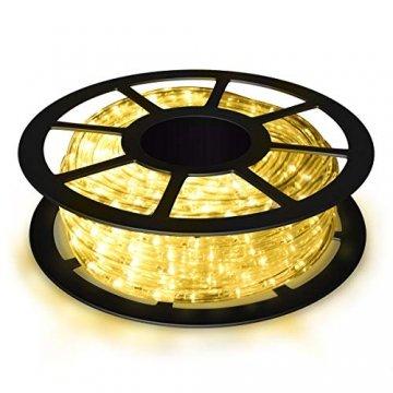 COSTWAY 10M LED Lichterschlauch Lichterkette Außen und Innen mit 360 LEDs Weihnachtsbeleuchtung Lichtschlauch Weihnachten Deko (Warmweiß) - 1
