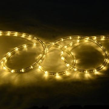 COSTWAY 10M LED Lichterschlauch Lichterkette Außen und Innen mit 360 LEDs Weihnachtsbeleuchtung Lichtschlauch Weihnachten Deko (Warmweiß) - 6