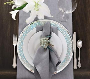 Crabtree Collection Tischläufer aus natürlichem Flachs, Weihnachts-Tischwäsche, zeitlos, Küchendekoration, Leinen, Servietten-Set – (grau, 35,6 x 183,8 cm) - 5
