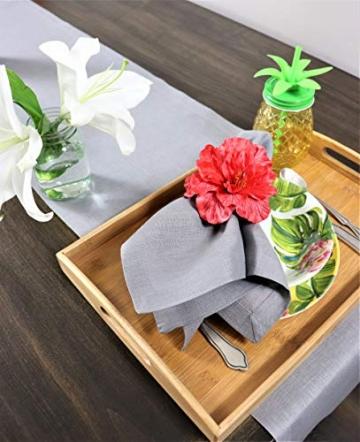 Crabtree Collection Tischläufer aus natürlichem Flachs, Weihnachts-Tischwäsche, zeitlos, Küchendekoration, Leinen, Servietten-Set – (grau, 35,6 x 183,8 cm) - 6