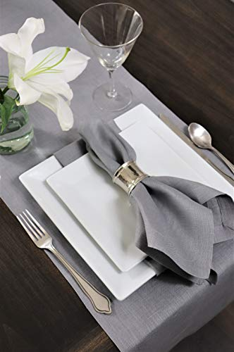 Crabtree Collection Tischläufer aus natürlichem Flachs, Weihnachts-Tischwäsche, zeitlos, Küchendekoration, Leinen, Servietten-Set – (grau, 35,6 x 183,8 cm) - 7