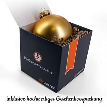 Deitert Weihnachtskugel mit Wunschtext Gravur, Ø 8cm, Personalisierte Christbaumkugel aus Glas (matt), Individueller Weihnachtsbaumschmuck Namen oder Spruch, Rot - 2