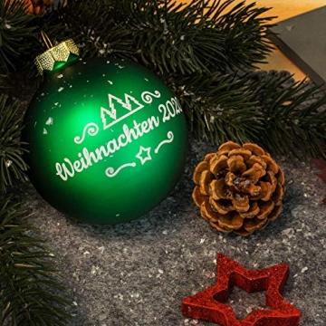 Deitert Weihnachtskugel mit Wunschtext Gravur, Ø 8cm, Personalisierte Christbaumkugel aus Glas (matt), Individueller Weihnachtsbaumschmuck Namen oder Spruch, Rot - 4