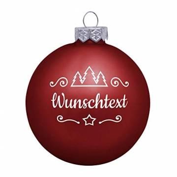 Deitert Weihnachtskugel mit Wunschtext Gravur, Ø 8cm, Personalisierte Christbaumkugel aus Glas (matt), Individueller Weihnachtsbaumschmuck Namen oder Spruch, Rot - 1