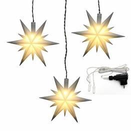 Dekohelden24 3er Set Flache Weihnachtssterne/Fenstersterne aus Kunststoff in weiß, inkl. LED Beleuchtung und Adapter, für Innen und Außen geeignet. Maße je Stern L/B/H: 13,5 x 5,5 x 12 cm. - 1