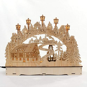 Dekohelden24 LED Holz Schwibbogen mit bewegter Weihnachtspyramide, Motiv: Bergmänner, L/B/H ca. 45 x 12 x 35 cm, für Batterie- oder Adapterbetrieb. - 2