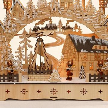 Dekohelden24 LED Holz Schwibbogen mit bewegter Weihnachtspyramide, Motiv: Bergmänner, L/B/H ca. 45 x 12 x 35 cm, für Batterie- oder Adapterbetrieb. - 3