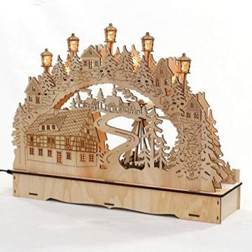 Dekohelden24 LED Holz Schwibbogen mit bewegter Weihnachtspyramide, Motiv: Bergmänner, L/B/H ca. 45 x 12 x 35 cm, für Batterie- oder Adapterbetrieb. - 4