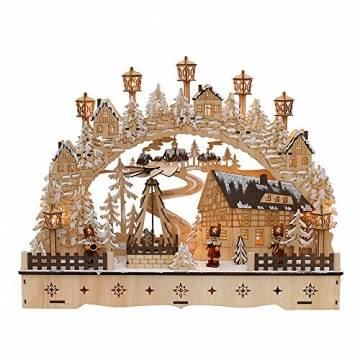 Dekohelden24 LED Holz Schwibbogen mit bewegter Weihnachtspyramide, Motiv: Bergmänner, L/B/H ca. 45 x 12 x 35 cm, für Batterie- oder Adapterbetrieb. - 1