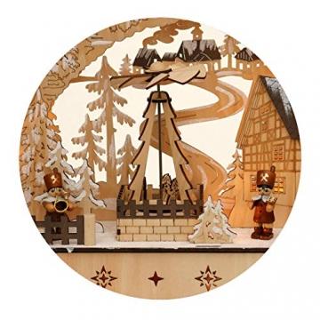 Dekohelden24 LED Holz Schwibbogen mit bewegter Weihnachtspyramide, Motiv: Bergmänner, L/B/H ca. 45 x 12 x 35 cm, für Batterie- oder Adapterbetrieb. - 5