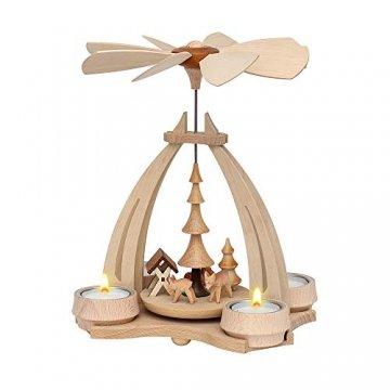 Dekohelden24 Tisch-Pyramide aus Buchenholz, Rehe mit Futterkrippe, ca. 24 cm. Inkl. 4 Stück Dekohelden Teelichte - 1