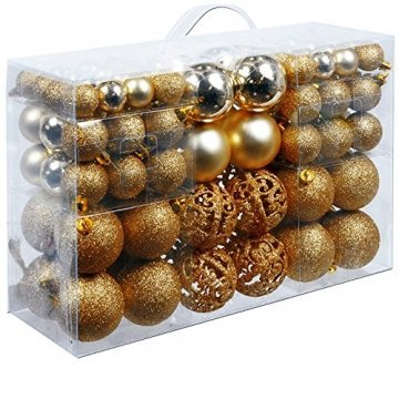 Deuba Weihnachtskugeln 100 Stück Gold - Christbaumkugeln Baumschmuck Weihnachtsbaumschmuck - 1