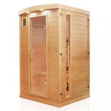 Dewello Infrarotkabine HYDER 115x105 für 1-2 Personen aus Hemlock Holz mit Vollspektrumstrahler - 2