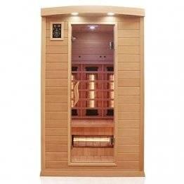 Dewello Infrarotkabine HYDER 115x105 für 1-2 Personen aus Hemlock Holz mit Vollspektrumstrahler - 1