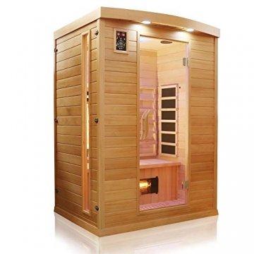 Dewello Infrarotkabine PIERSON 135x105 DUAL-THERM für 1-2 Personen aus Hemlock Holz mit Vollspektrumstrahler - 3