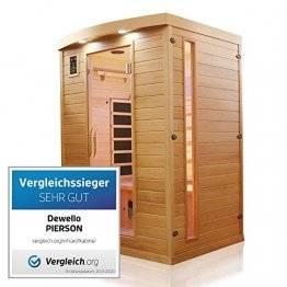 Dewello Infrarotkabine PIERSON 135x105 DUAL-THERM für 1-2 Personen aus Hemlock Holz mit Vollspektrumstrahler - 1
