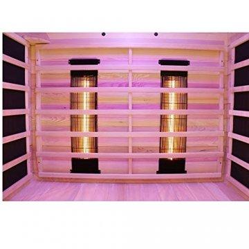 Dewello Infrarotkabine PIERSON 135x105 DUAL-THERM für 1-2 Personen aus Hemlock Holz mit Vollspektrumstrahler - 5