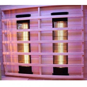 Dewello Infrarotkabine PIERSON 135x105 DUAL-THERM für 1-2 Personen aus Hemlock Holz mit Vollspektrumstrahler - 6