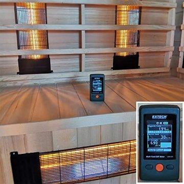 Dewello Infrarotkabine PIERSON 135x105 DUAL-THERM für 1-2 Personen aus Hemlock Holz mit Vollspektrumstrahler - 9