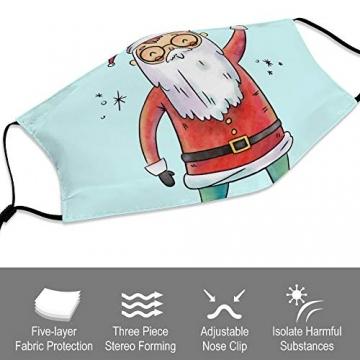 DKISEE Fashion Unisex Staubmaske mit Filterelement, verstellbare Gesichtsmaske mit Ohrschlaufen, Outdoor-Schutzmaske (süßer Weihnachtsmann-Figur, lächelnd und Spruch hoch) - 3