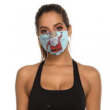 DKISEE Fashion Unisex Staubmaske mit Filterelement, verstellbare Gesichtsmaske mit Ohrschlaufen, Outdoor-Schutzmaske (süßer Weihnachtsmann-Figur, lächelnd und Spruch hoch) - 4