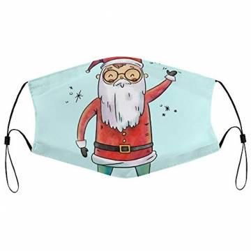 DKISEE Fashion Unisex Staubmaske mit Filterelement, verstellbare Gesichtsmaske mit Ohrschlaufen, Outdoor-Schutzmaske (süßer Weihnachtsmann-Figur, lächelnd und Spruch hoch) - 1