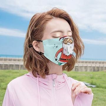DKISEE Fashion Unisex Staubmaske mit Filterelement, verstellbare Gesichtsmaske mit Ohrschlaufen, Outdoor-Schutzmaske (süßer Weihnachtsmann-Figur, lächelnd und Spruch hoch) - 5