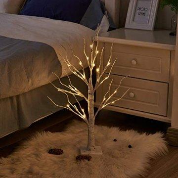 EAMBRITE 2er Set Lichterbaum Lichterzweige für Innen 24 Warmweiß LEDs Bäumchen Birken Dekozweige Batteriebetrieb Weihnachtsdeko für Zuhause Party Geburtstag Hochzeit Innendekoration (60cm/2ft) - 4