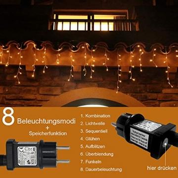 Eisregen Lichterkette Außen 200er LED 5m, LED Lichtervorhang mit Timer, IP44 wasserdicht 8 Modi für Innenausstattung Außenbereich Schlafzimmer Hochzeit Weihnachten Party (Warmweiß) - 2