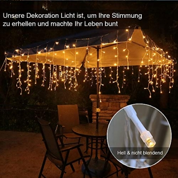 Eisregen Lichterkette Außen 200er LED 5m, LED Lichtervorhang mit Timer, IP44 wasserdicht 8 Modi für Innenausstattung Außenbereich Schlafzimmer Hochzeit Weihnachten Party (Warmweiß) - 3