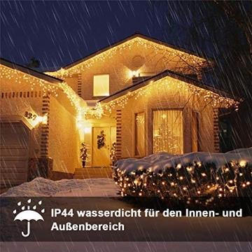 Eisregen Lichterkette Außen 200er LED 5m, LED Lichtervorhang mit Timer, IP44 wasserdicht 8 Modi für Innenausstattung Außenbereich Schlafzimmer Hochzeit Weihnachten Party (Warmweiß) - 4