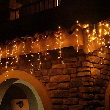 Eisregen Lichterkette Außen 200er LED 5m, LED Lichtervorhang mit Timer, IP44 wasserdicht 8 Modi für Innenausstattung Außenbereich Schlafzimmer Hochzeit Weihnachten Party (Warmweiß) - 1