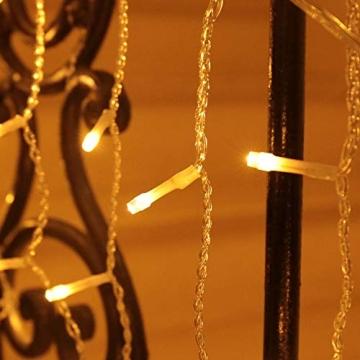 Eisregen Lichterkette Außen 200er LED 5m, LED Lichtervorhang mit Timer, IP44 wasserdicht 8 Modi für Innenausstattung Außenbereich Schlafzimmer Hochzeit Weihnachten Party (Warmweiß) - 5