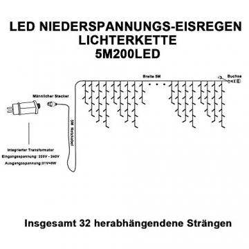 Eisregen Lichterkette Außen 200er LED 5m, LED Lichtervorhang mit Timer, IP44 wasserdicht 8 Modi für Innenausstattung Außenbereich Schlafzimmer Hochzeit Weihnachten Party (Warmweiß) - 7
